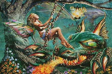 cross stitch pattern Dragon and Fairy Swing