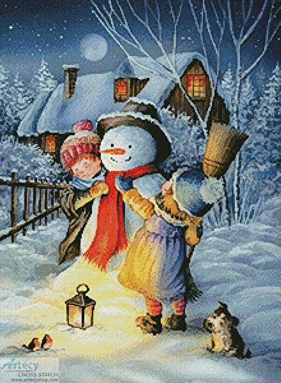 cross stitch pattern Dressing the Snowman