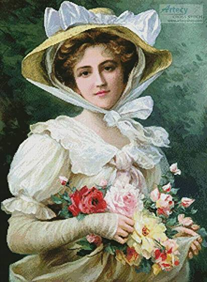cross stitch pattern Elegant Lady with a Bouquet of Roses