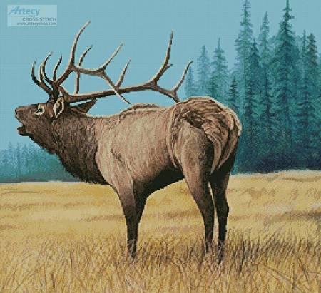 cross stitch pattern Elk Bugler 1