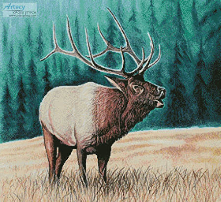cross stitch pattern Elk Bugler 2