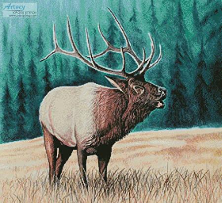 cross stitch pattern Elk Bugler 2