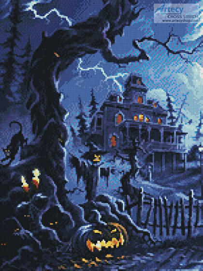 cross stitch pattern Fright Night (Crop)
