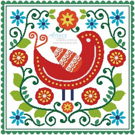 cross stitch pattern Folk Art Bird and Flowers