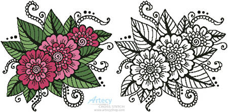cross stitch pattern Flower Design 1