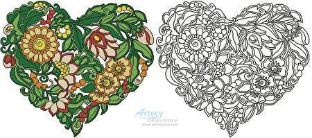 cross stitch pattern Floral Heart 2