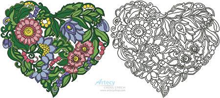 cross stitch pattern Floral Heart 1