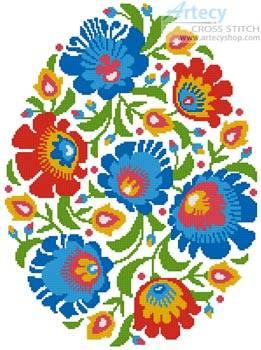 cross stitch pattern Folk Art Easter Egg 1