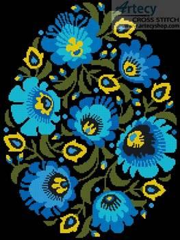 cross stitch pattern Folk Art Easter Egg 2