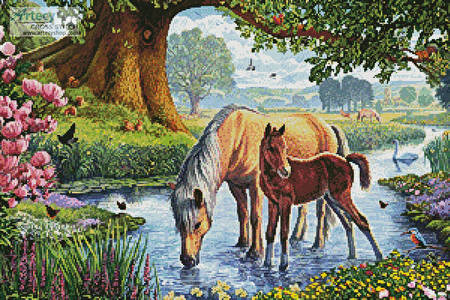 cross stitch pattern Fell Ponies