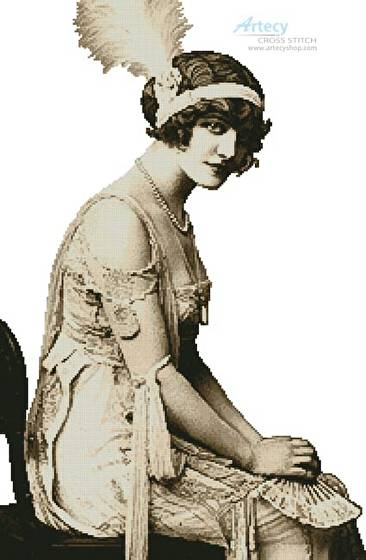 cross stitch pattern Flapper Girl (No Background)
