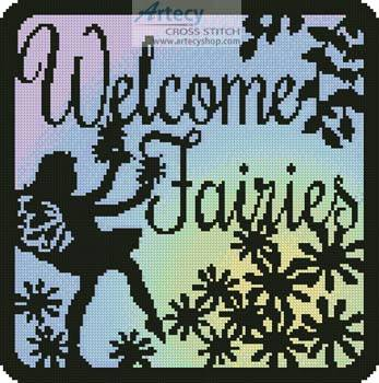 cross stitch pattern Fairy Silhouette Square 1