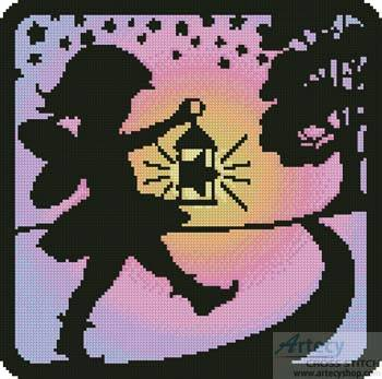 cross stitch pattern Fairy Silhouette Square 2
