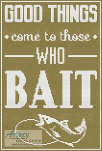 cross stitch pattern Fishing Quote 1