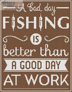 cross stitch pattern Fishing Quote 2