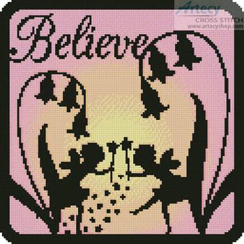 cross stitch pattern Fairy Silhouette Square 3