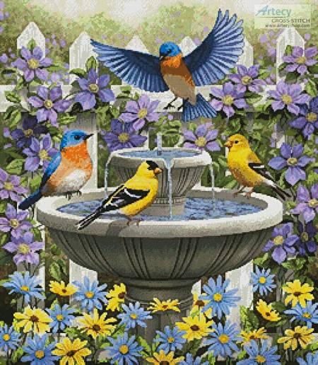 cross stitch pattern Fountain Festivities