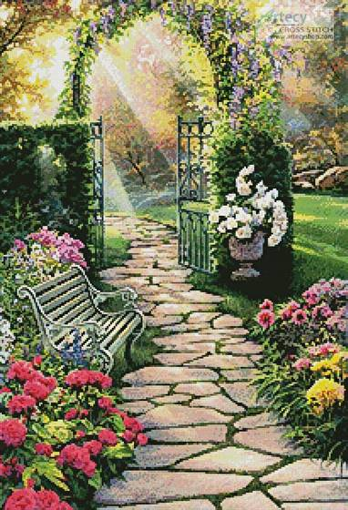 cross stitch pattern Garden Path