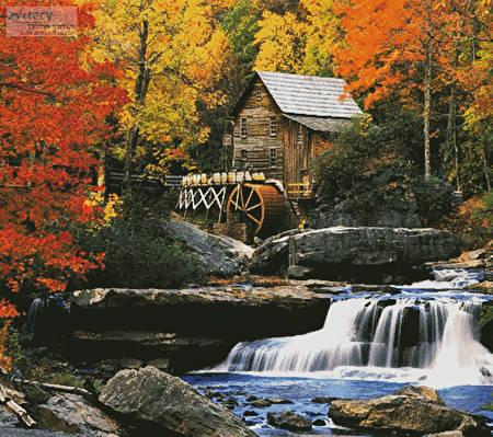 cross stitch pattern Glade Creek Grist Mill (Cushion)