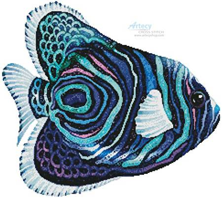 cross stitch pattern Green Blue Purple Fish