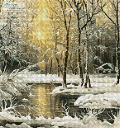 cross stitch pattern Golden Winter Lake (Crop)