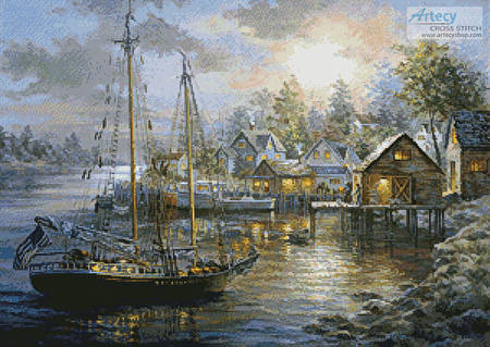 cross stitch pattern Harbor Town