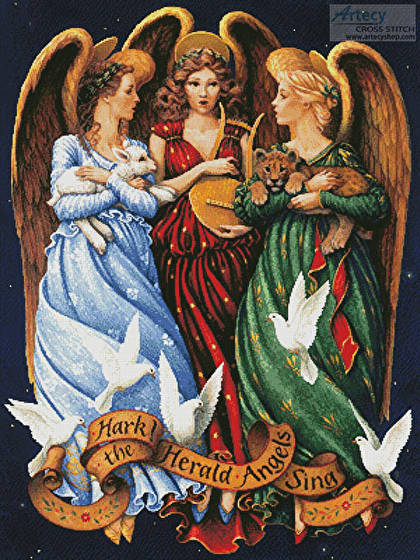 cross stitch pattern Hark the Herald Angels Sing