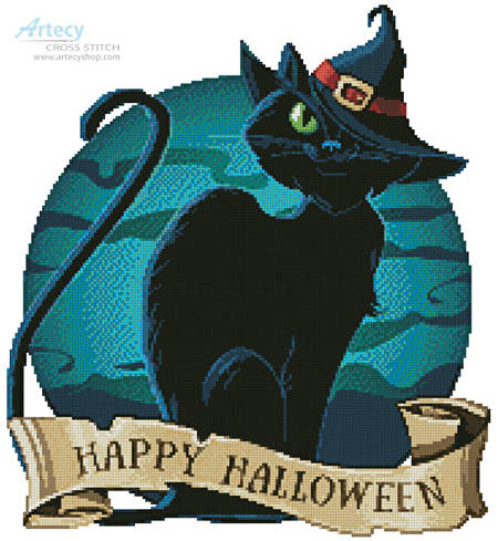 cross stitch pattern Halloween Cat