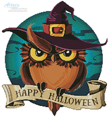 cross stitch pattern Halloween Owl