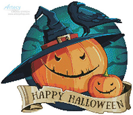 cross stitch pattern Halloween Pumpkins