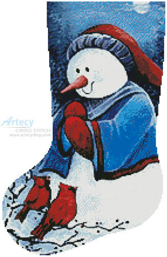 cross stitch pattern Hello Winter Friends Stocking (Left)