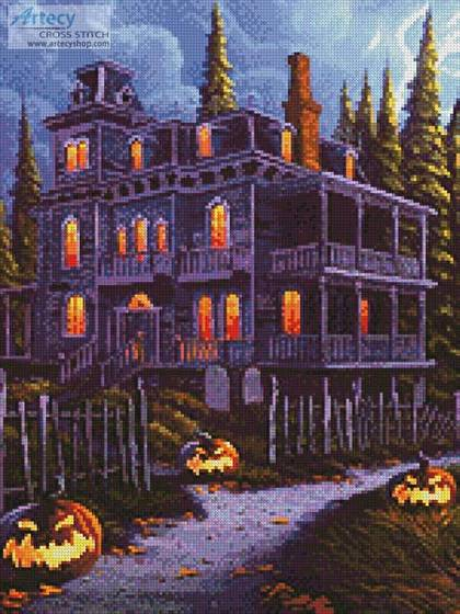 cross stitch pattern Jack-o-Lantern Lane (Crop 1)