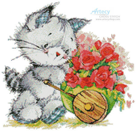 cross stitch pattern Kitty with Cart