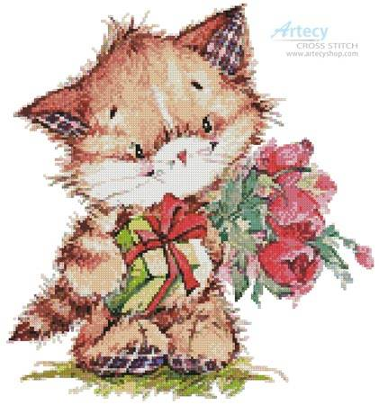 cross stitch pattern Kitty with Presents 2