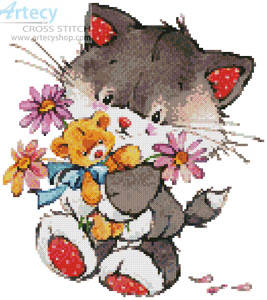 cross stitch pattern Kitty with Presents