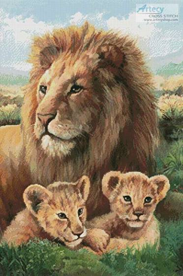 cross stitch pattern Lion and Cubs