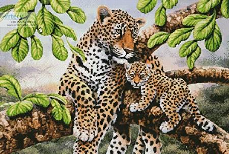 cross stitch pattern Leopard and Cub