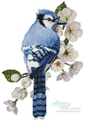 cross stitch pattern Little Blue Jay
