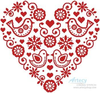 cross stitch pattern Love Birds Heart