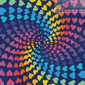 cross stitch pattern Mini Abstract Rainbow Heart Design