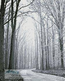 cross stitch pattern Mini Black and White Road through Trees