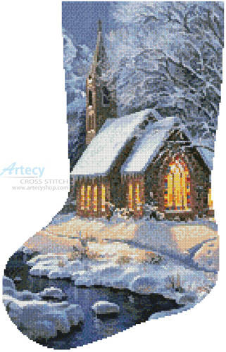 cross stitch pattern Midnight Clear Stocking (Left)