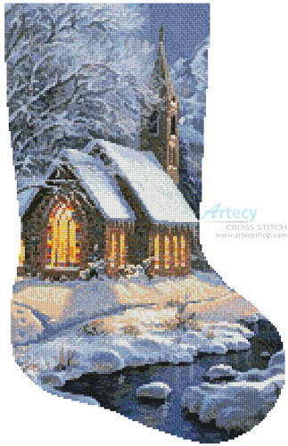 cross stitch pattern Midnight Clear Stocking (Right)