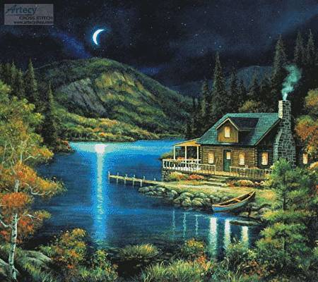 cross stitch pattern Moonlit Cabin (Cushion)