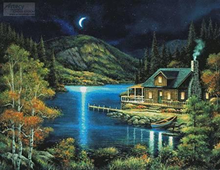 cross stitch pattern Moonlit Cabin (Large)