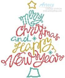 cross stitch pattern Merry Christmas and Happy New Year