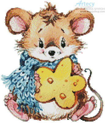 cross stitch pattern Mouse with Cheese 2