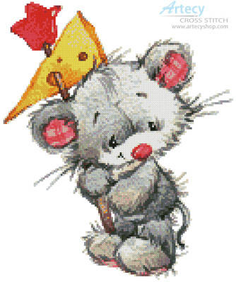 cross stitch pattern Mouse with Cheese