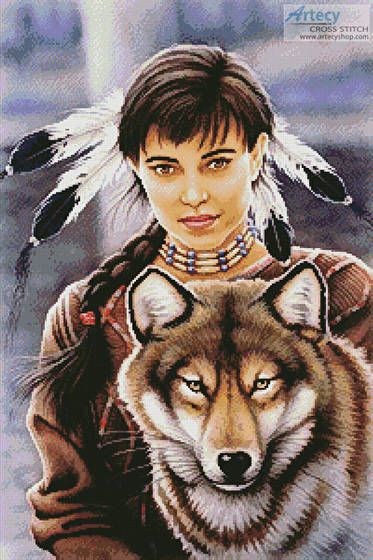 cross stitch pattern Native American Maiden and Wolf