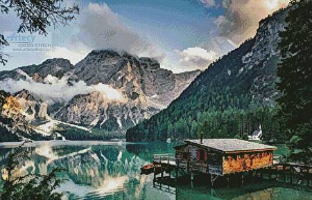 cross stitch pattern Pragser Wildsee, Italy